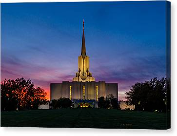 Jordan River Temple Sunset Canvas Print by La Rae  Roberts
