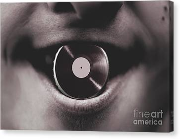 Oldies Canvas Print - Jukebox Dj Holding Vinyl Soda Bottle Lid In Mouth by Jorgo Photography - Wall Art Gallery