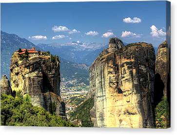 Kalambaka Beneath The Meteora Of Greece Canvas Print by Micah Goff