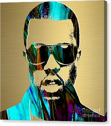 Kanye West Gold Series Canvas Print by Marvin Blaine