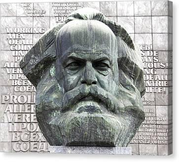 Karl Marx Monument In Chemnitz Canvas Print by Alfred Pasieka