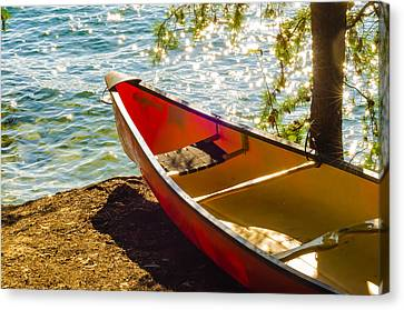 Kayak By The Water Canvas Print