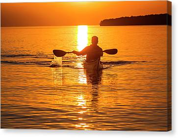 Kayaking At Sunset In The Apostle Canvas Print