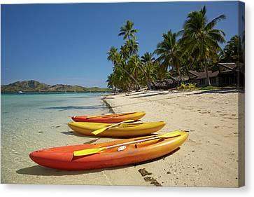 Kayaks On The Beach, Plantation Island Canvas Print by David Wall