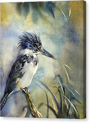 Kingfisher Watercolor Canvas Print