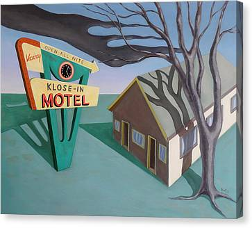 Canvas Print featuring the painting Klose-in Motel by Sally Banfill