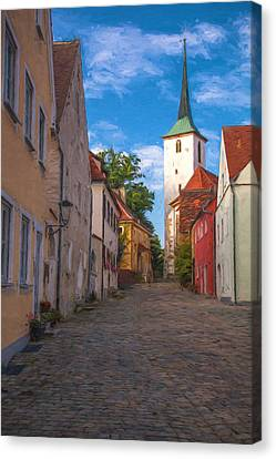 Colorful Sky Canvas Print - Klostergasse Vilseck by Shirley Radabaugh