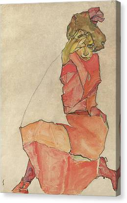 Kneeling Female In Orange-red Dress Canvas Print