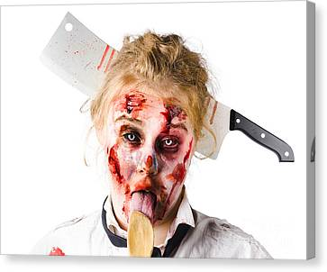 Survive Canvas Print - Knifed Woman Licking Spoon by Jorgo Photography - Wall Art Gallery