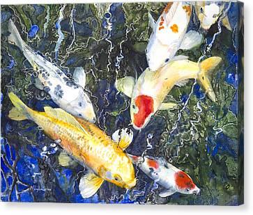 Koi Deep Blue Canvas Print by Patricia Allingham Carlson