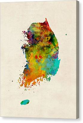 Korea Watercolor Map Canvas Print by Michael Tompsett