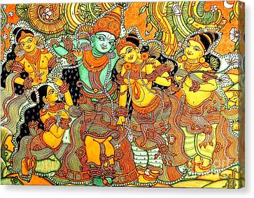 Krishna In Vrindavan Canvas Print by Pg Reproductions