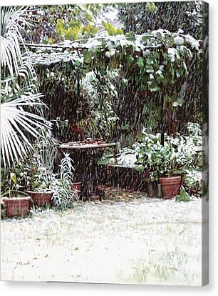 La Neve Sotto La Topia Canvas Print by Guido Borelli