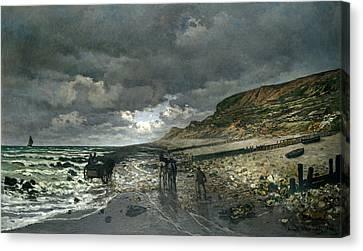 La Pointe De La Heve At Low Tide Canvas Print by Claude Monet