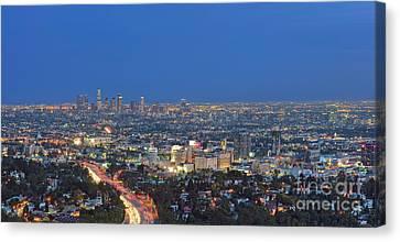 L.a. Skyline Los Angeles Ca Cityscape Night Dusk Lit Lights On 3 Canvas Print