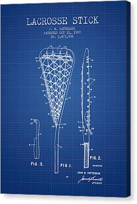 Goalie Canvas Print - Lacrosse Stick Patent From 1970 -  Blueprint by Aged Pixel