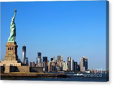 Canvas Print featuring the photograph Lady Liberty Watches 1wtc Rise by Jemmy Archer