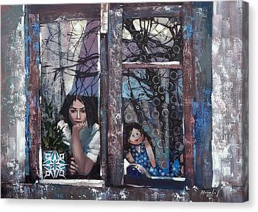 Canvas Print featuring the painting lady Winter by Anastasija Kraineva