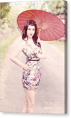 Lady With Red Parasol Canvas Print