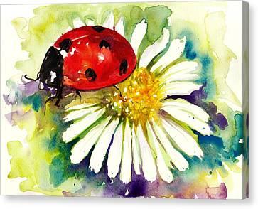 Ladybug In Flowers Canvas Print by Tiberiu Soos
