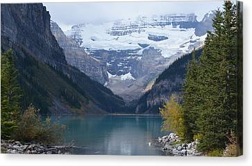 Lake Louise In Fall Canvas Print by Cheryl Miller