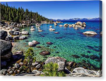 Snow-covered Landscape Canvas Print - Lake Tahoe Waterscape by Scott McGuire
