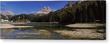 Lake With A Mountain Range Canvas Print