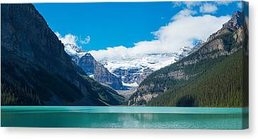 Lake With Canadian Rockies Canvas Print by Panoramic Images