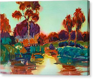 Canvas Print featuring the painting Lakeside Glow by Roger Parent