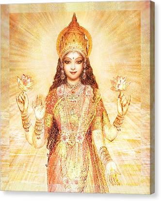 Lakshmi The Goddess Of Fortune And Abundance Canvas Print by Ananda Vdovic