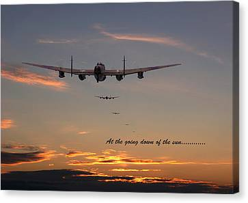 Lancaster - At The Going Down Of The Sun... Canvas Print by Pat Speirs