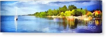 Landscape Of The Balaton Lake Canvas Print by Odon Czintos