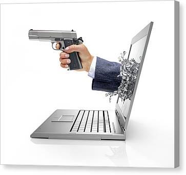 Laptop With Hand And Gun Canvas Print by Leonello Calvetti
