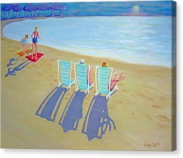 Sunset On Beach - Last Rays Canvas Print