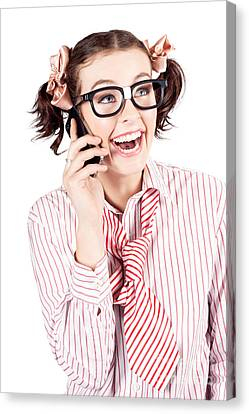 Laughing Nerdy Woman On A Smartphone Canvas Print by Jorgo Photography - Wall Art Gallery