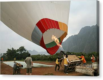 Launching A Hot Air Balloon Canvas Print by PhotoStock-Israel