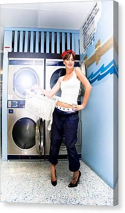 Laundry Mat Woman Canvas Print by Jorgo Photography - Wall Art Gallery