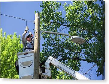 Streetlight Canvas Print - Led Street Light Installation by Jim West