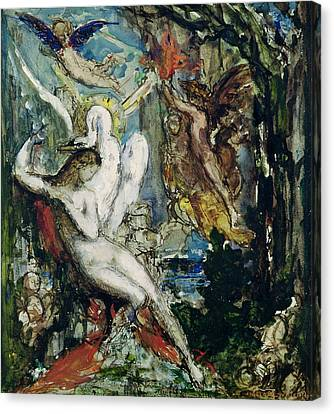 Leda Wc On Paper Canvas Print by Gustave Moreau