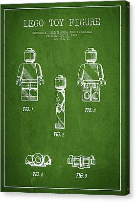 Lego Toy Figure Patent - Green Canvas Print