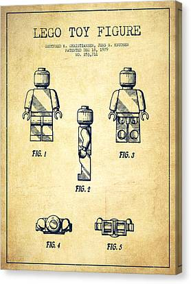 Lego Toy Figure Patent - Vintage Canvas Print by Aged Pixel