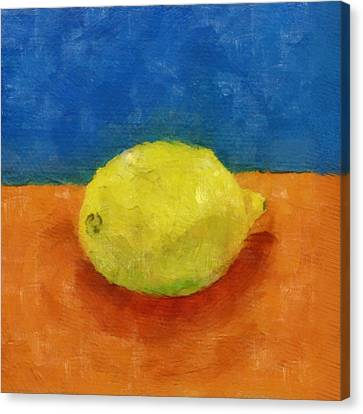 Lemon With Blue And Orange Canvas Print by Michelle Calkins