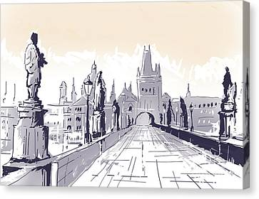 Lesser Town Bridge Tower Drawing Czech Republic Canvas Print by Jorgo Photography - Wall Art Gallery