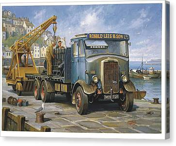 Leyland Hippo At Brixham. Canvas Print by Mike  Jeffries