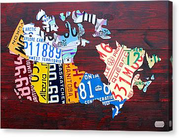 Edmonton Canvas Print - License Plate Map Of Canada by Design Turnpike