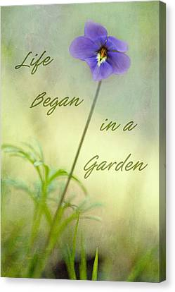 Life Began In A Garden Canvas Print by Patricia Montgomery
