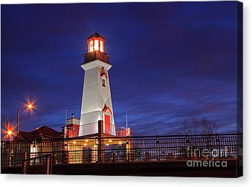Port Credit Canvas Print - Lighthouse At Night by Charline Xia