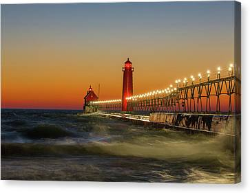Lighthouse On The Jetty At Dusk, Grand Canvas Print by Panoramic Images