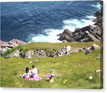 Canvas Print featuring the photograph Lighthouse Picnic by Zinvolle Art