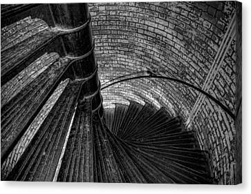 Lighthouse Stairs - Black And White Canvas Print by Peter Tellone